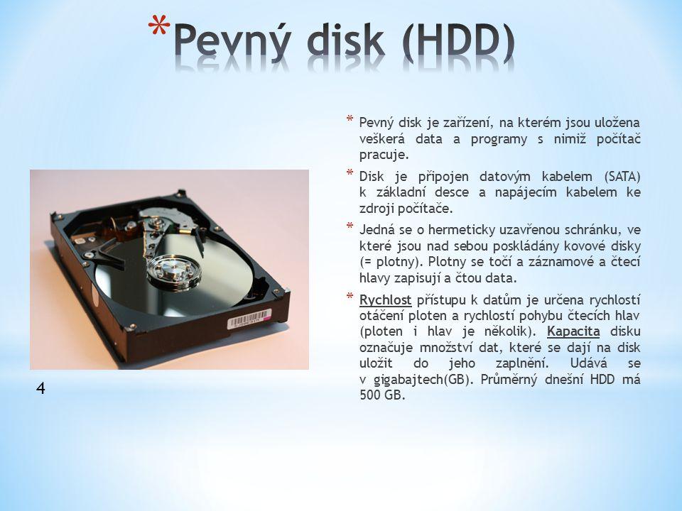 Pevný disk (HDD) Pevný disk je zařízení, na kterém jsou uložena veškerá data a programy s nimiž počítač pracuje.
