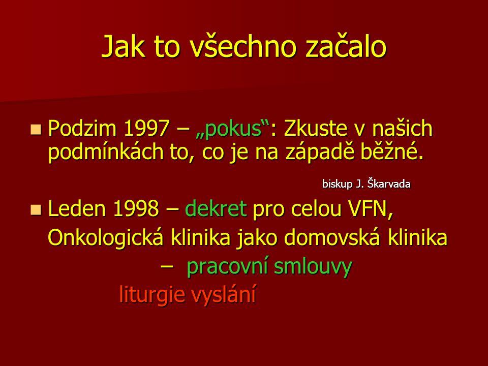"""Jak to všechno začalo Podzim 1997 – """"pokus : Zkuste v našich podmínkách to, co je na západě běžné. biskup J. Škarvada."""