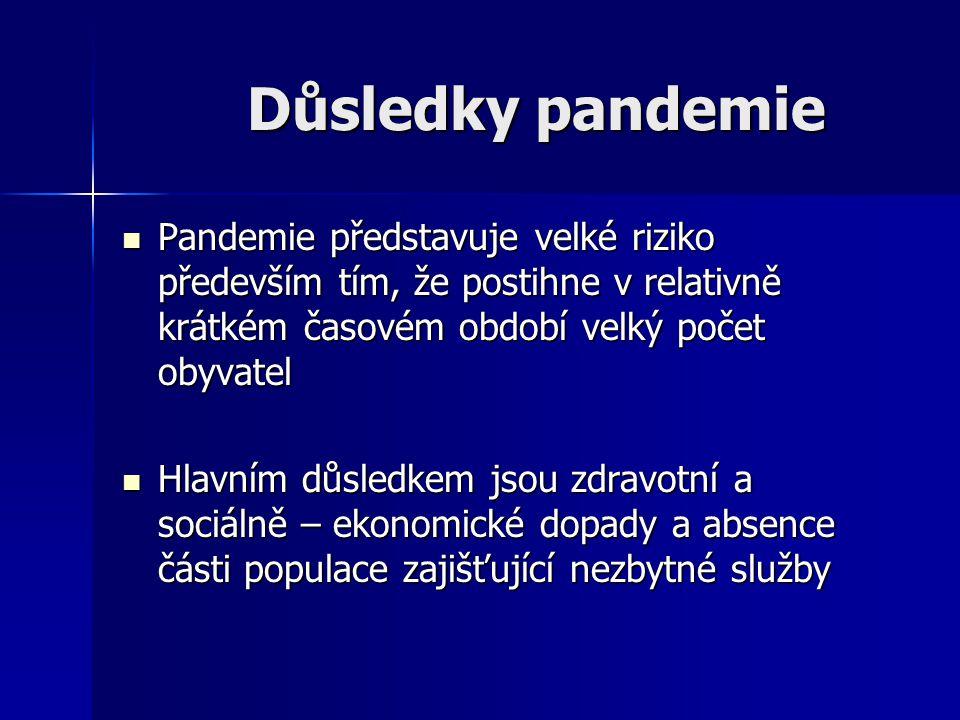 Důsledky pandemie Pandemie představuje velké riziko především tím, že postihne v relativně krátkém časovém období velký počet obyvatel.