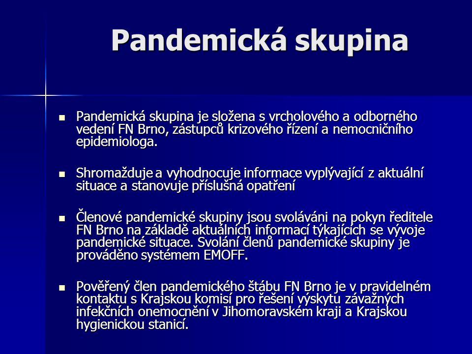 Pandemická skupina Pandemická skupina je složena s vrcholového a odborného vedení FN Brno, zástupců krizového řízení a nemocničního epidemiologa.