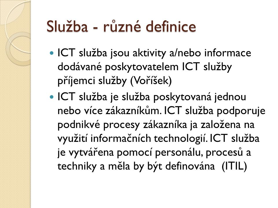 Služba - různé definice