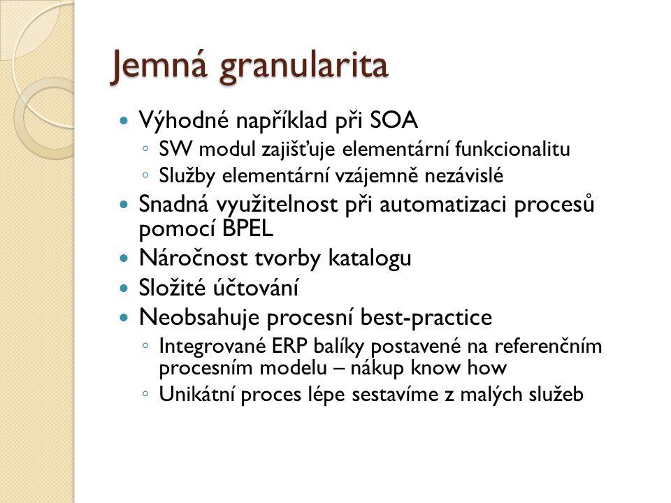 Jemná granularita Výhodné například při SOA