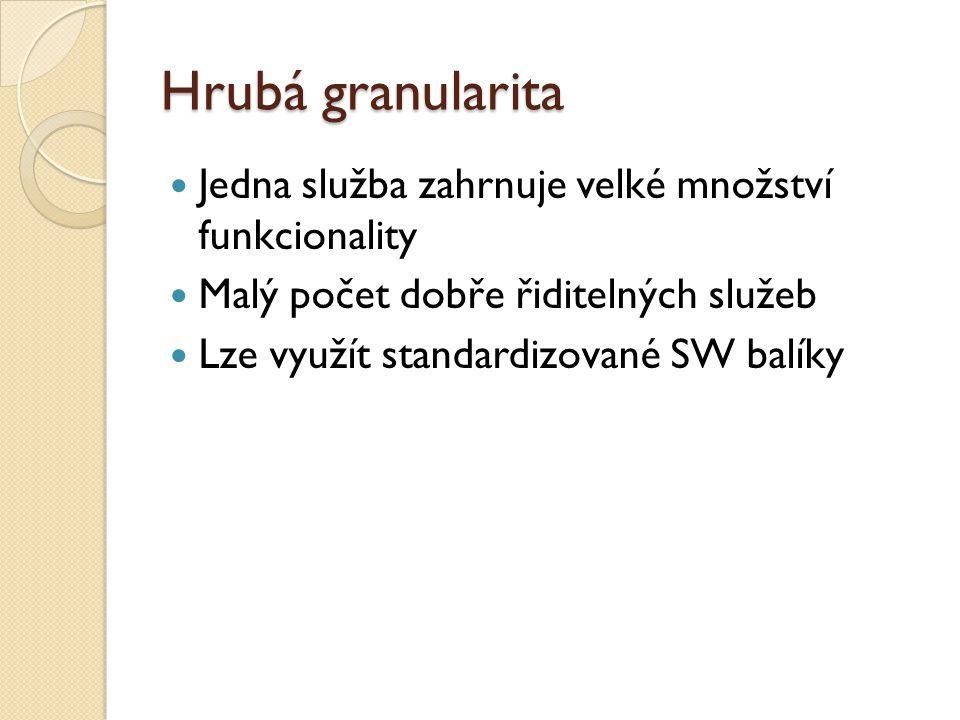 Hrubá granularita Jedna služba zahrnuje velké množství funkcionality