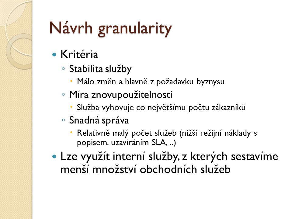 Návrh granularity Kritéria