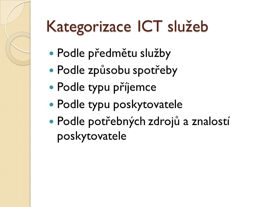 Kategorizace ICT služeb
