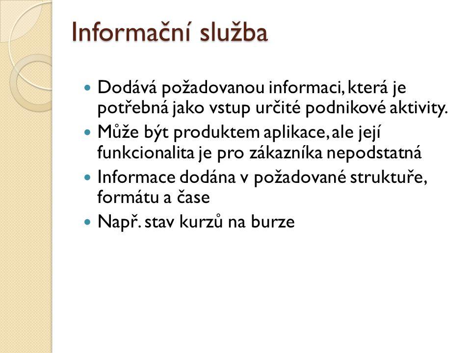 Informační služba Dodává požadovanou informaci, která je potřebná jako vstup určité podnikové aktivity.