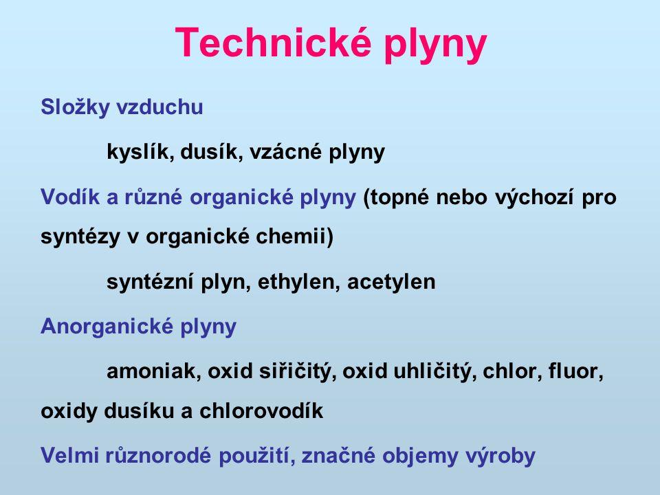 Technické plyny Složky vzduchu kyslík, dusík, vzácné plyny