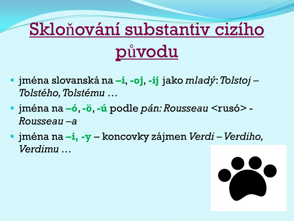Skloňování substantiv cizího původu