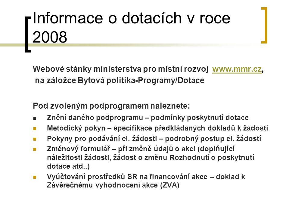 Informace o dotacích v roce 2008