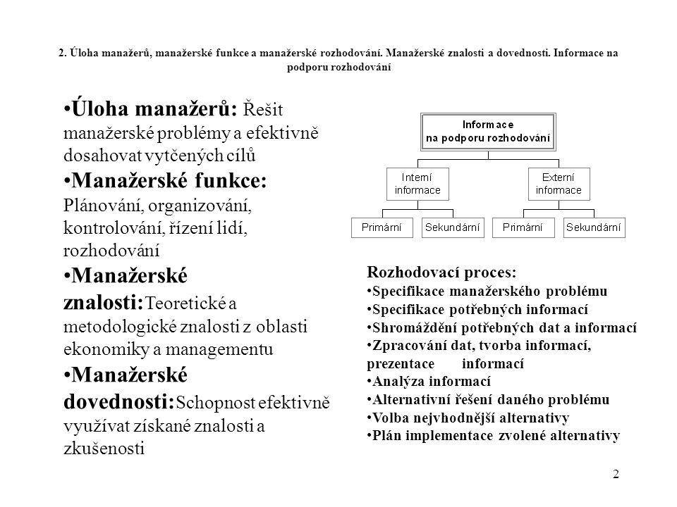 2. Úloha manažerů, manažerské funkce a manažerské rozhodování