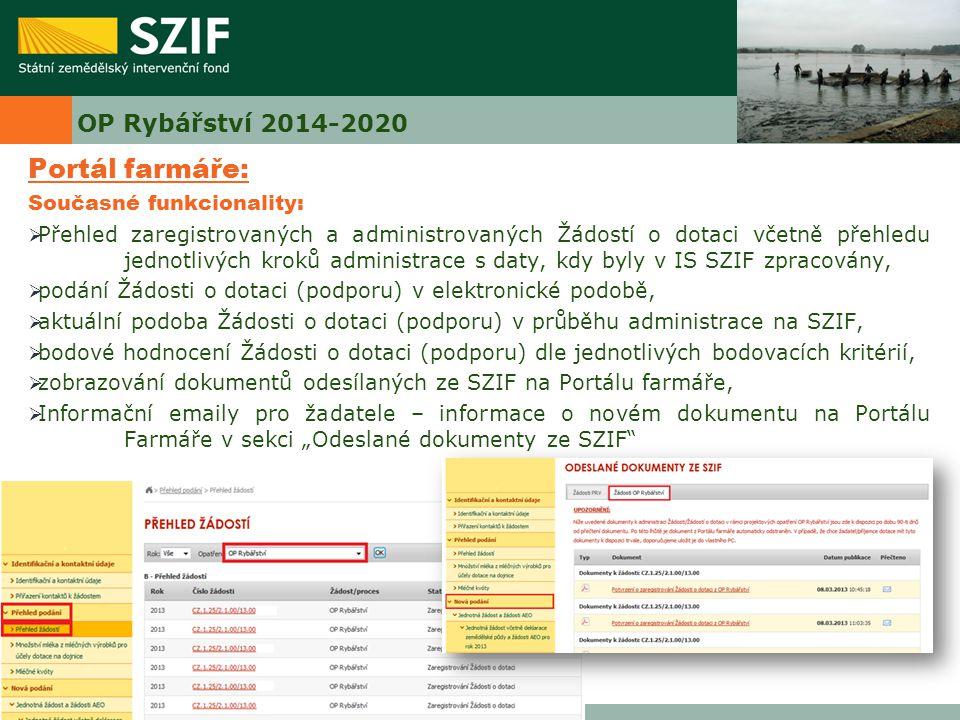 Portál farmáře: OP Rybářství 2014-2020 Současné funkcionality: