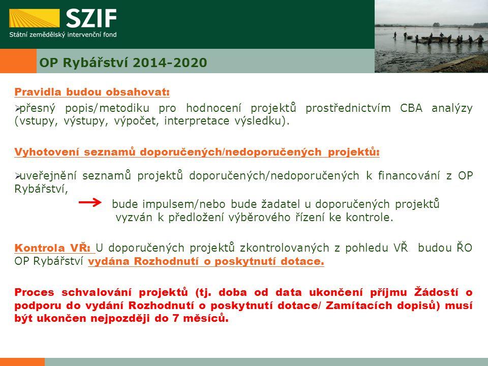 OP Rybářství 2014-2020 Pravidla budou obsahovat: