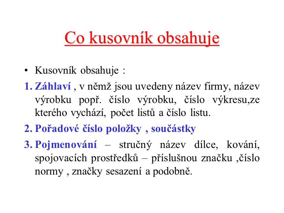 Co kusovník obsahuje Kusovník obsahuje :