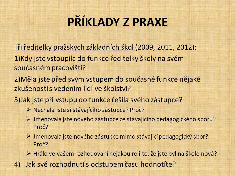 PŘÍKLADY Z PRAXE Tři ředitelky pražských základních škol (2009, 2011, 2012):