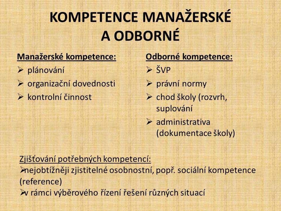 KOMPETENCE MANAŽERSKÉ A ODBORNÉ