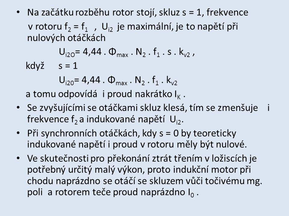 Na začátku rozběhu rotor stojí, skluz s = 1, frekvence