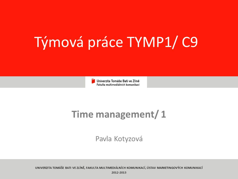 Time management/ 1 Pavla Kotyzová