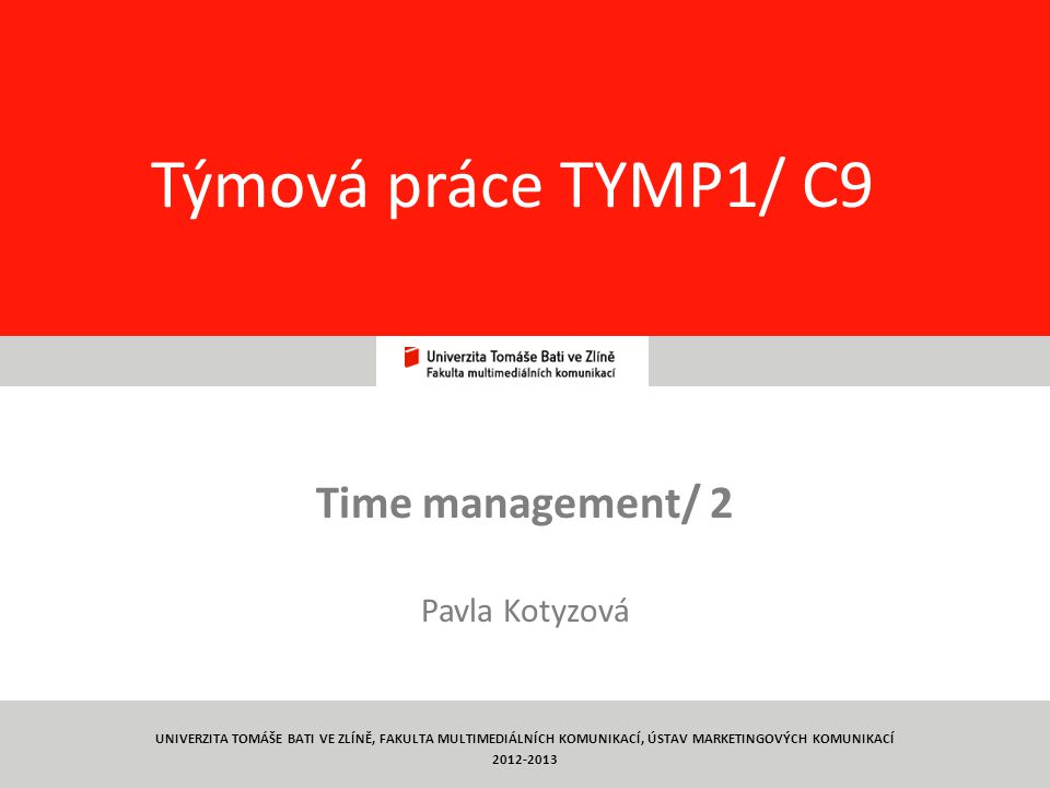 Time management/ 2 Pavla Kotyzová
