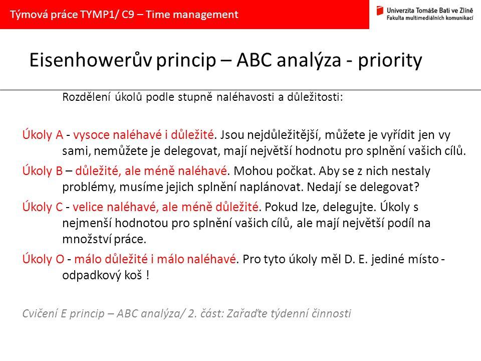 Eisenhowerův princip – ABC analýza - priority