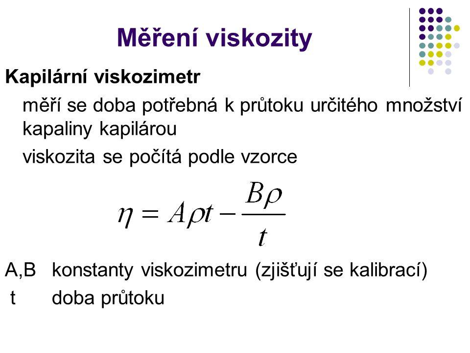 Měření viskozity Kapilární viskozimetr