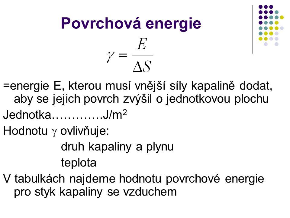 Povrchová energie =energie E, kterou musí vnější síly kapalině dodat, aby se jejich povrch zvýšil o jednotkovou plochu.