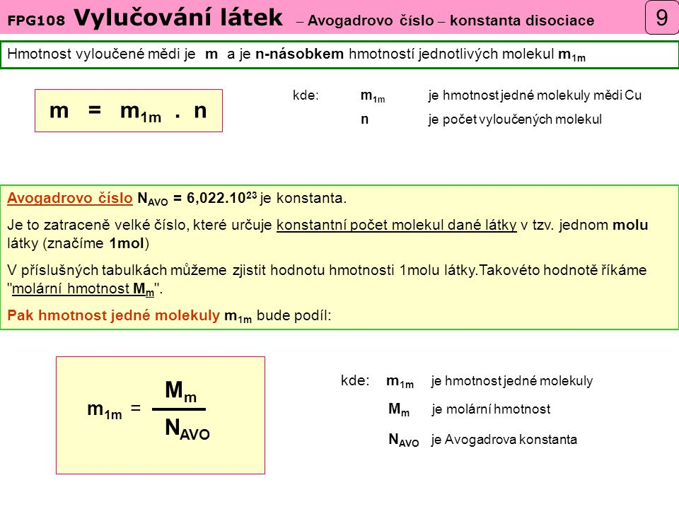 FPG108 Vylučování látek – Avogadrovo číslo – konstanta disociace