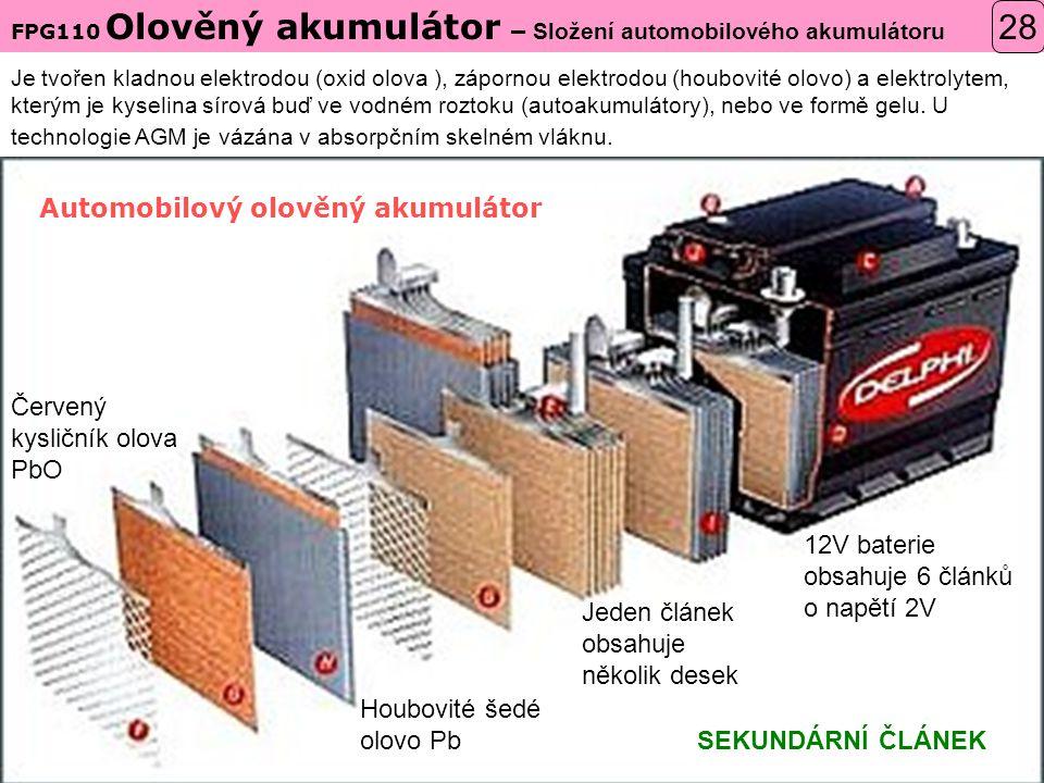 28 Automobilový olověný akumulátor Červený kysličník olova PbO