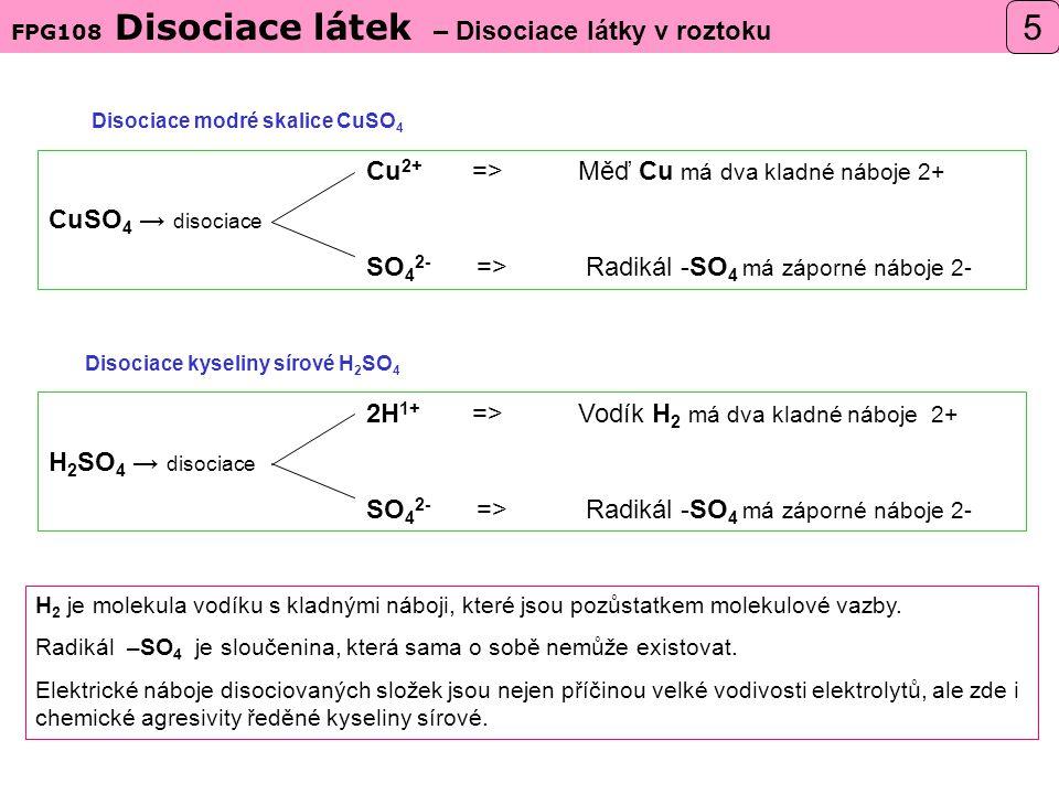 Disociace modré skalice CuSO4 Disociace kyseliny sírové H2SO4