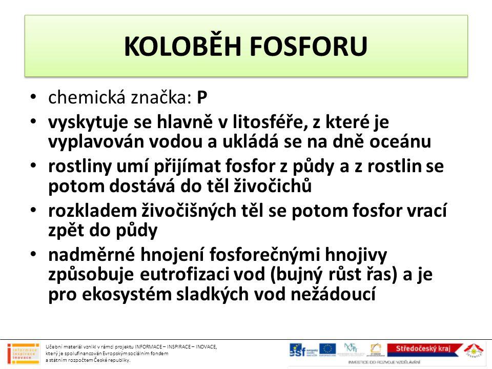 KOLOBĚH FOSFORU chemická značka: P