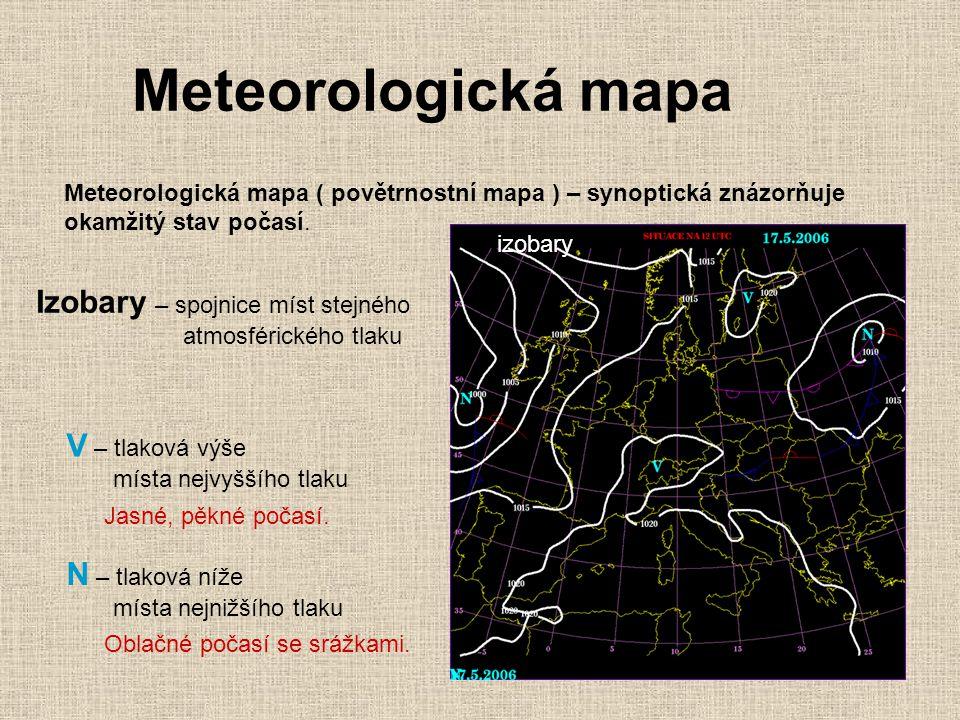 Meteorologická mapa Izobary – spojnice míst stejného V – tlaková výše