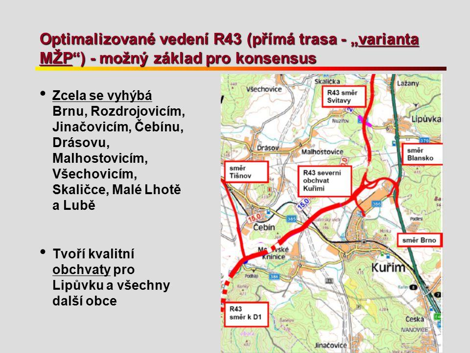 """Optimalizované vedení R43 (přímá trasa - """"varianta MŽP ) - možný základ pro konsensus"""