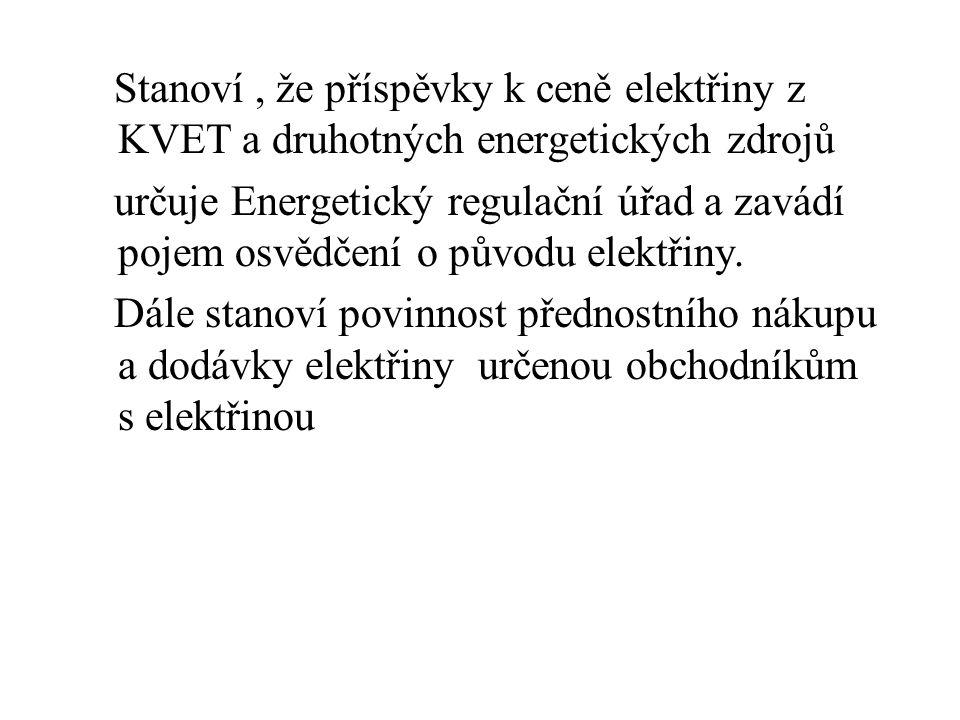 Stanoví , že příspěvky k ceně elektřiny z KVET a druhotných energetických zdrojů