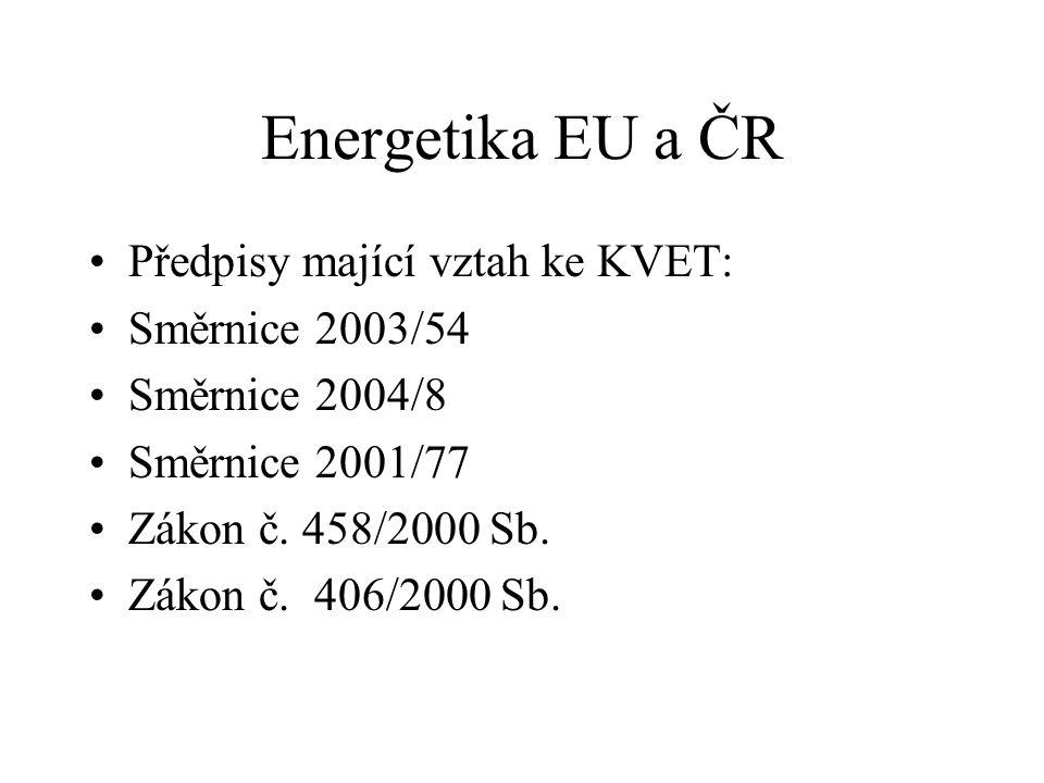 Energetika EU a ČR Předpisy mající vztah ke KVET: Směrnice 2003/54