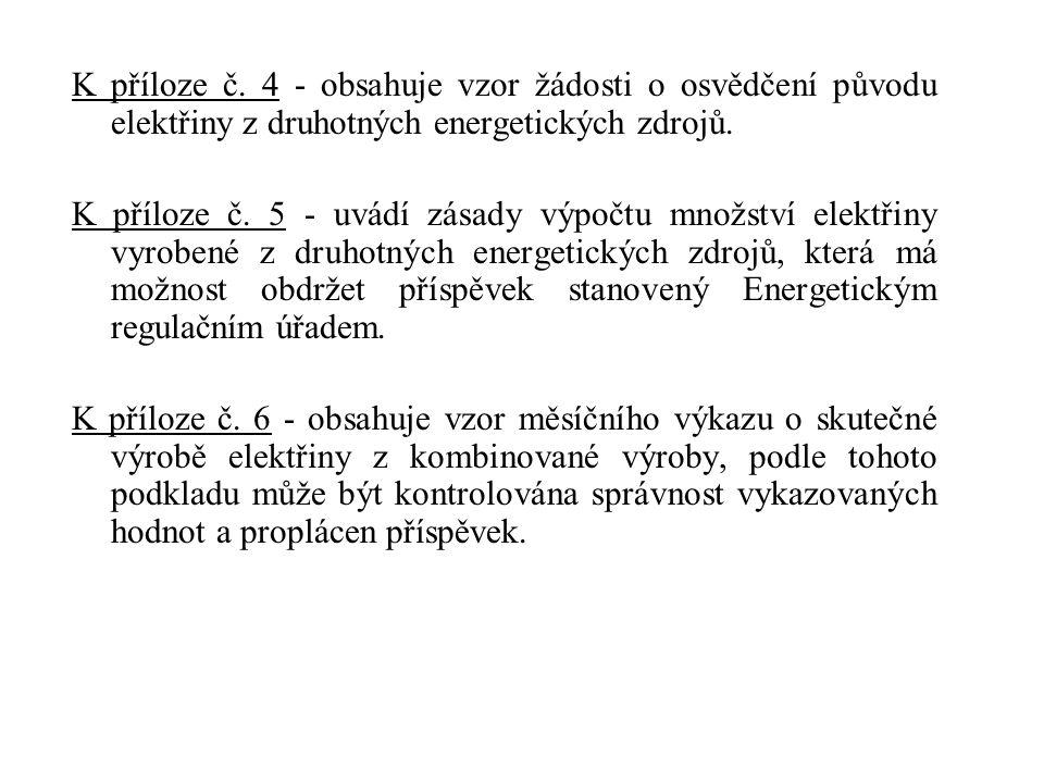 K příloze č. 4 - obsahuje vzor žádosti o osvědčení původu elektřiny z druhotných energetických zdrojů.