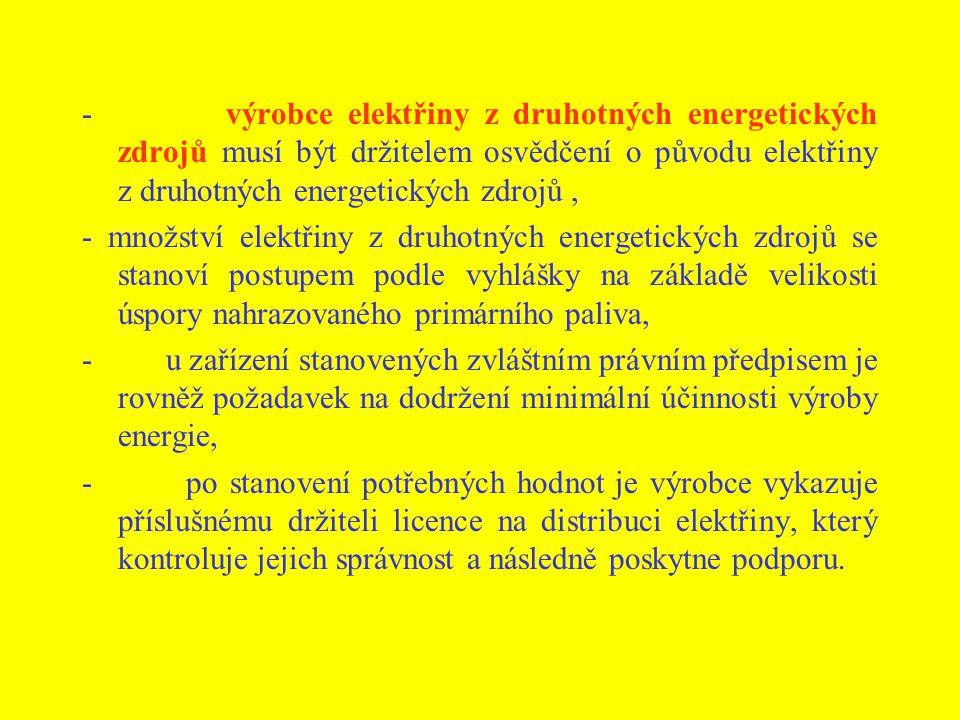 - výrobce elektřiny z druhotných energetických zdrojů musí být držitelem osvědčení o původu elektřiny z druhotných energetických zdrojů ,