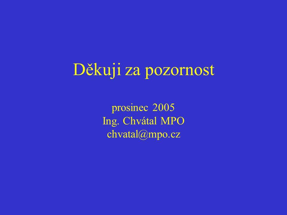 Děkuji za pozornost prosinec 2005 Ing. Chvátal MPO chvatal@mpo.cz