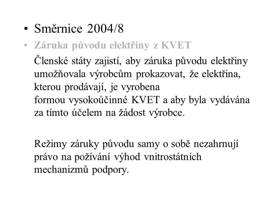 Směrnice 2004/8 Záruka původu elektřiny z KVET