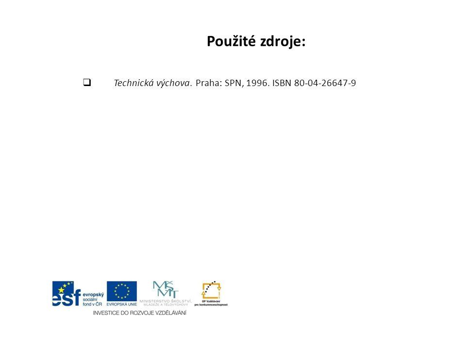 Použité zdroje: Technická výchova. Praha: SPN, 1996. ISBN 80-04-26647-9