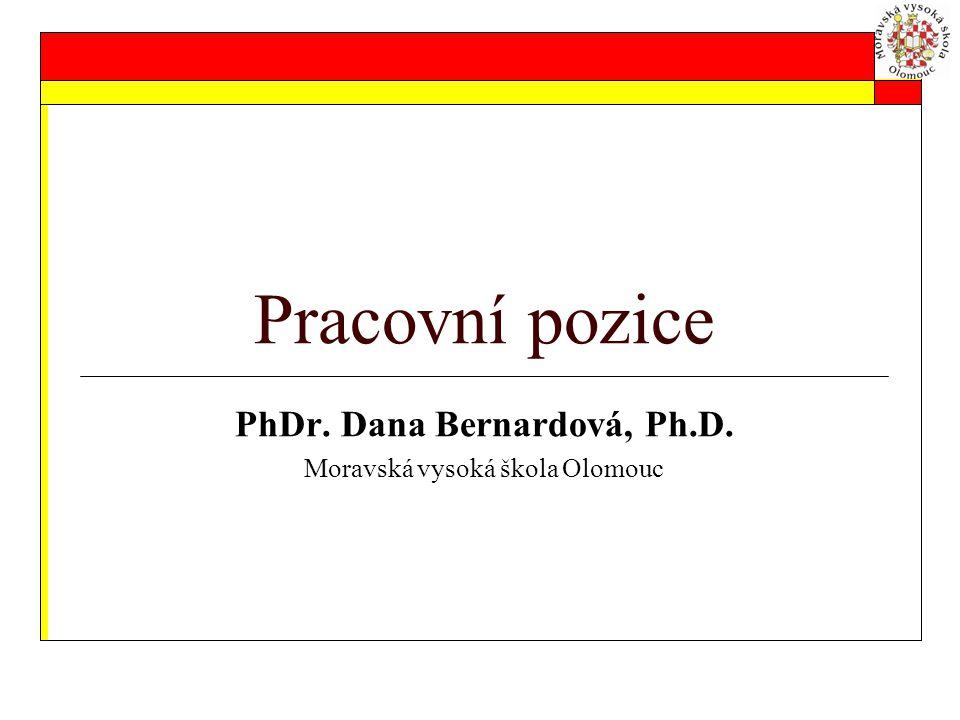 PhDr. Dana Bernardová, Ph.D. Moravská vysoká škola Olomouc