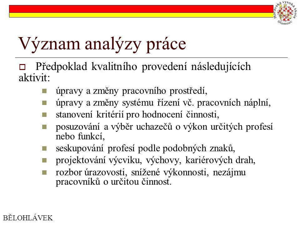 Význam analýzy práce Předpoklad kvalitního provedení následujících aktivit: úpravy a změny pracovního prostředí,