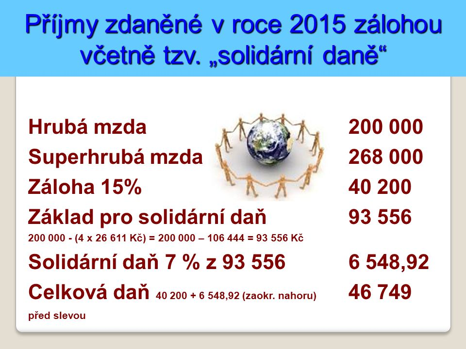 """Příjmy zdaněné v roce 2015 zálohou včetně tzv. """"solidární daně"""