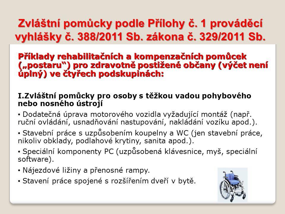Zvláštní pomůcky podle Přílohy č. 1 prováděcí vyhlášky č. 388/2011 Sb