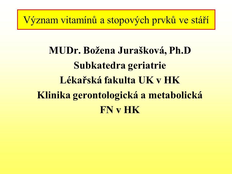 Význam vitamínů a stopových prvků ve stáří