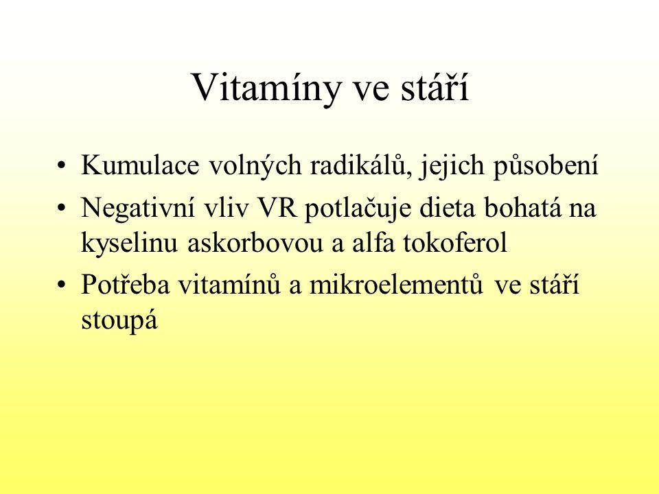 Vitamíny ve stáří Kumulace volných radikálů, jejich působení