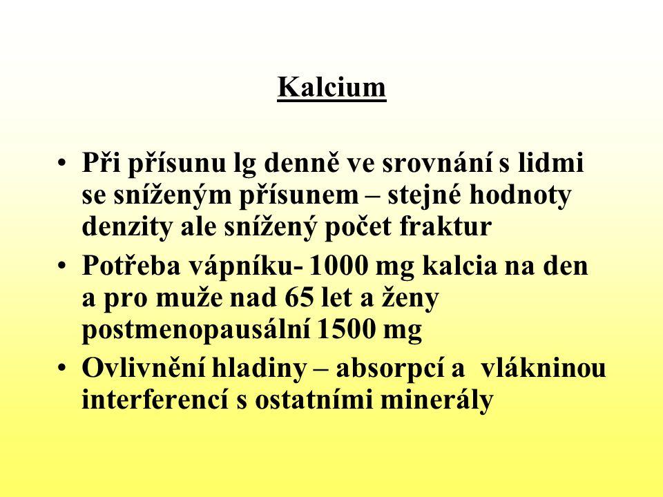 Kalcium Při přísunu lg denně ve srovnání s lidmi se sníženým přísunem – stejné hodnoty denzity ale snížený počet fraktur.