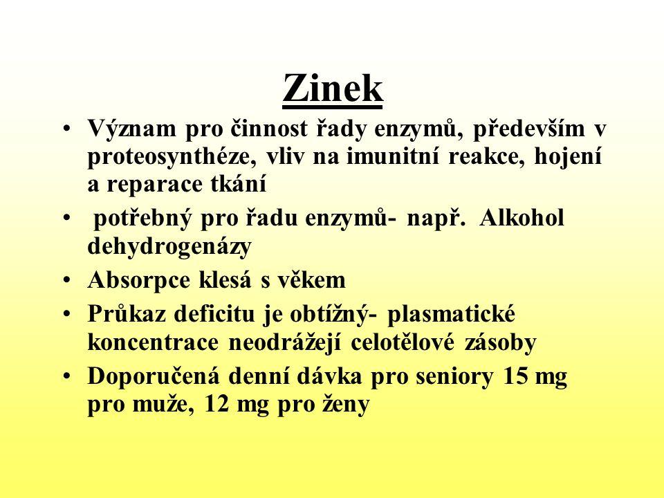 Zinek Význam pro činnost řady enzymů, především v proteosynthéze, vliv na imunitní reakce, hojení a reparace tkání.