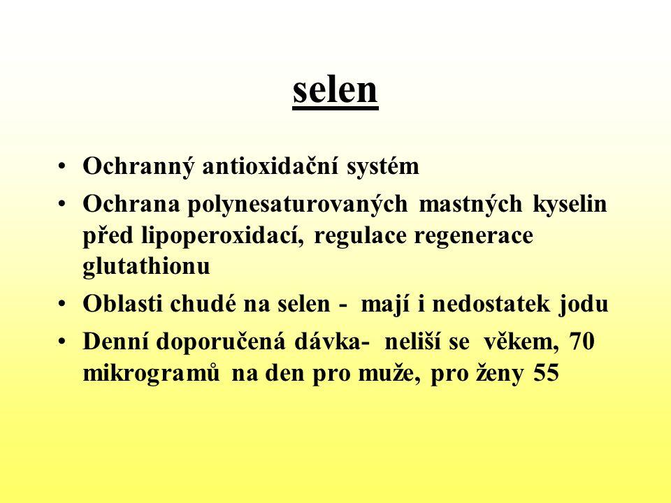 selen Ochranný antioxidační systém