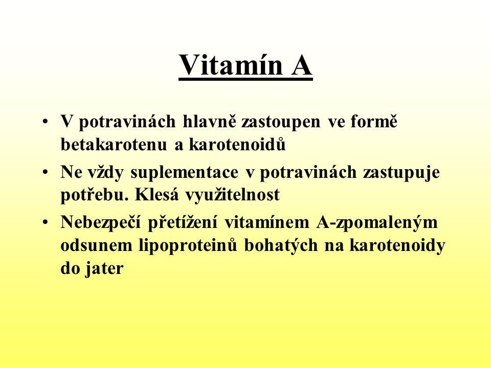Vitamín A V potravinách hlavně zastoupen ve formě betakarotenu a karotenoidů.