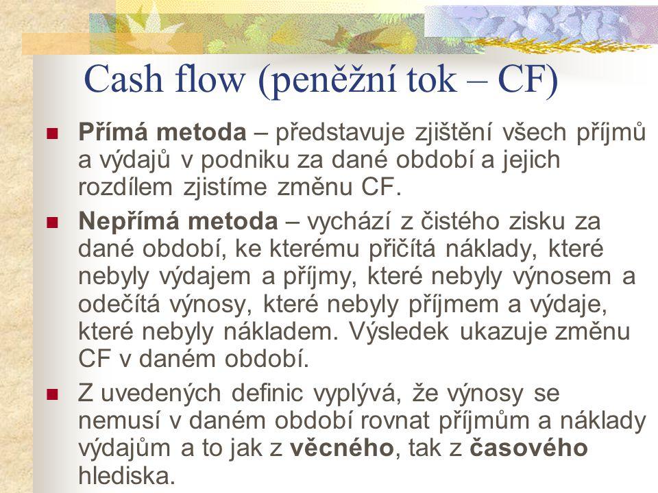Cash flow (peněžní tok – CF)