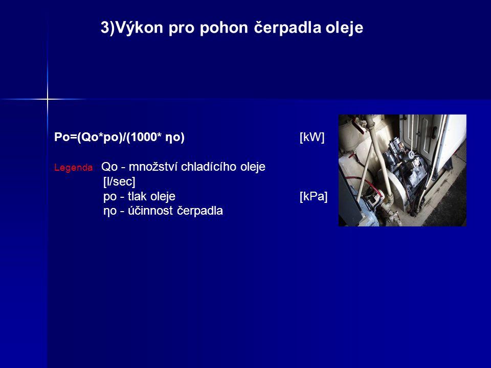 3)Výkon pro pohon čerpadla oleje
